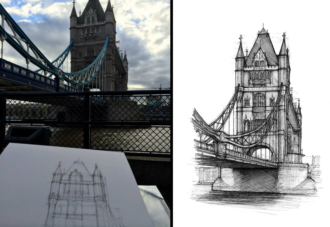 07-Tower-Bridge-Luke-Adam-Hawker-Creating-Architectural-Drawings-on-Location-www-designstack-co