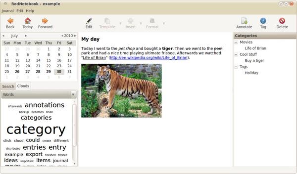 Rednotebook 2.11 - Δωρεάν ημερολόγιο για σημειώσεις