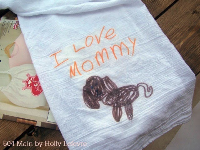 A sweet drawign your child created can easily be added to a flour sack towel for a special gift