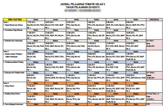 Download Jadwal Pelajaran Kurikulum 2013 Tingkat SD/MI