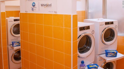 Pope Francis of Catholic Church Opens Free Laundromat for the Poor