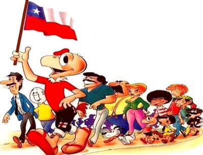 Dibujo de Condorito caminando con los demás personajes