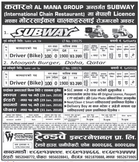 Jobs in Qatar for Nepali, Salary Rs 53,350