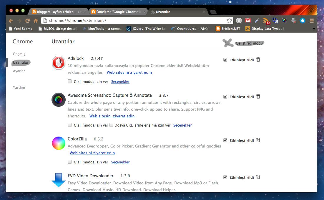 Google Chrome için Eklenti Yazmak