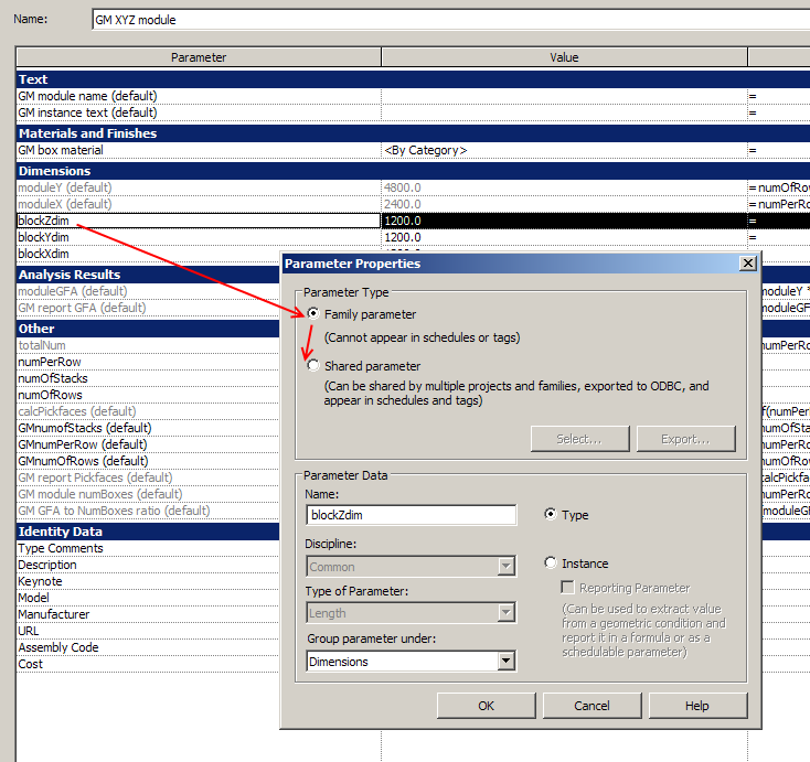 What Revit Wants: Swapping Family Parameters for Shared
