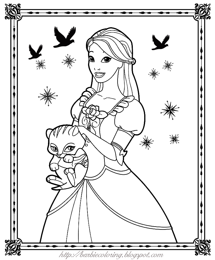 BARBIE COLORING PAGES: PINK AND GREEN BARBIE BIRTHDAY ...