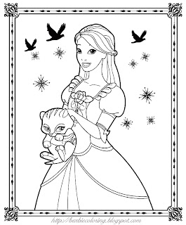 BARBIE COLORING PAGES: PINK AND GREEN BARBIE BIRTHDAY