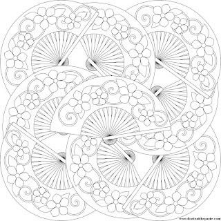 Folding fan coloring page
