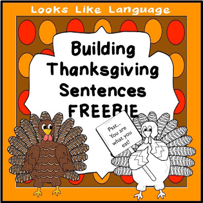 Pictured Noun-Verb-Object Sentences to tell about Thanksgiving from Looks-Like-Language