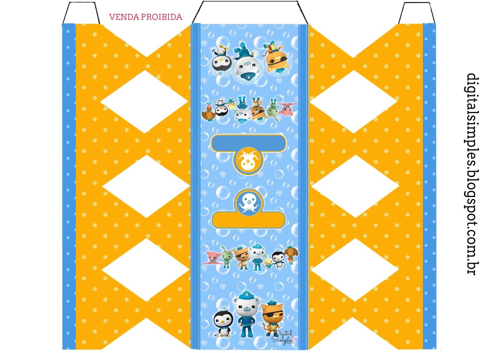 Printable Octonauts Personalized Popcorn Box or Birthday Favor box