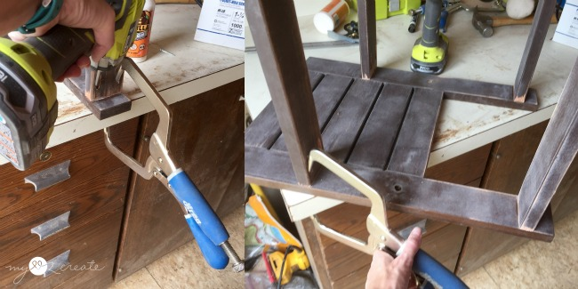 Attaching support boards for bench