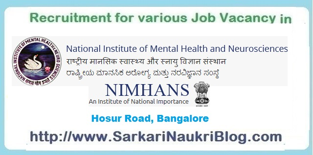 Naukri Vacancy Recruitment NIMHANS Bengaluru
