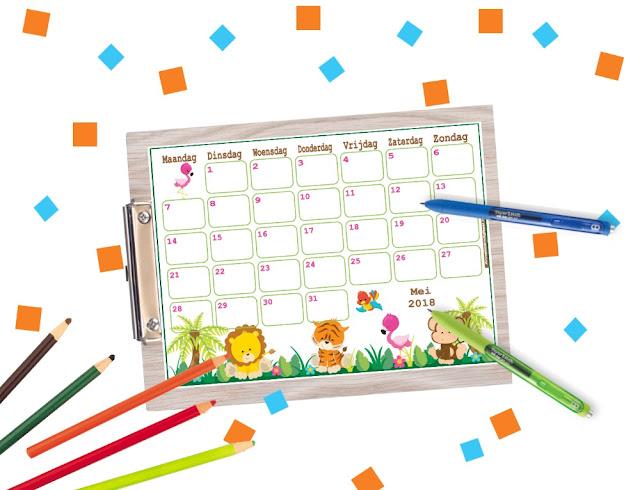 gratis mei 2018 kalender, kalender zelf printen, ik zoek een leuke kalender, kalender printable kopen, kalender om te printen, kalender voor kinderen, aftelkalender, kalender om af te tellen, lieve kalender, stoere kalender, kalender gratis printen