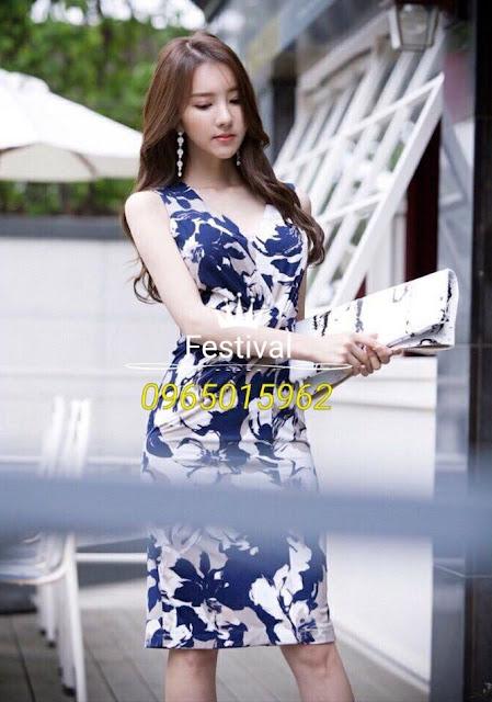 Đầm body thun hoa cổ chữ v - F1005Mb - Ảnh 2