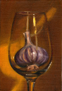 Oil painting of a purple and white garlic bulb in a wine glass with a yellow background.