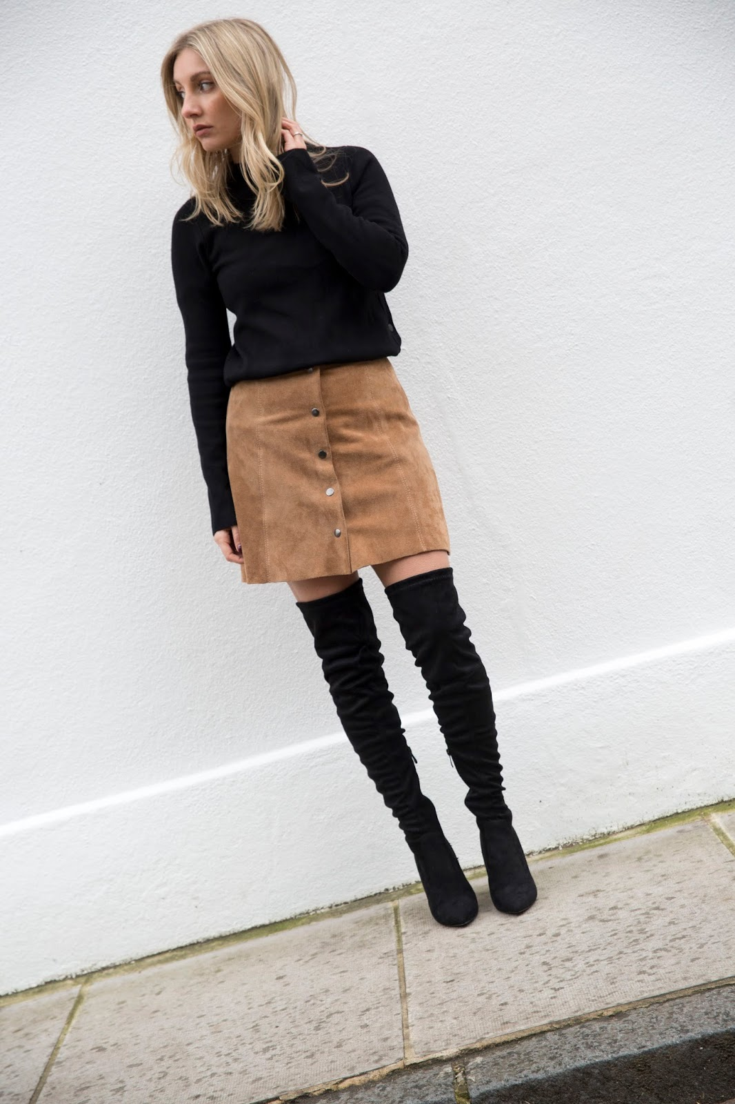 5d63fad55b6 Public desire have done it again with these lush over the knee boots. Today  i have styled them with my suede tan skirt which I purchased in the summer  and ...