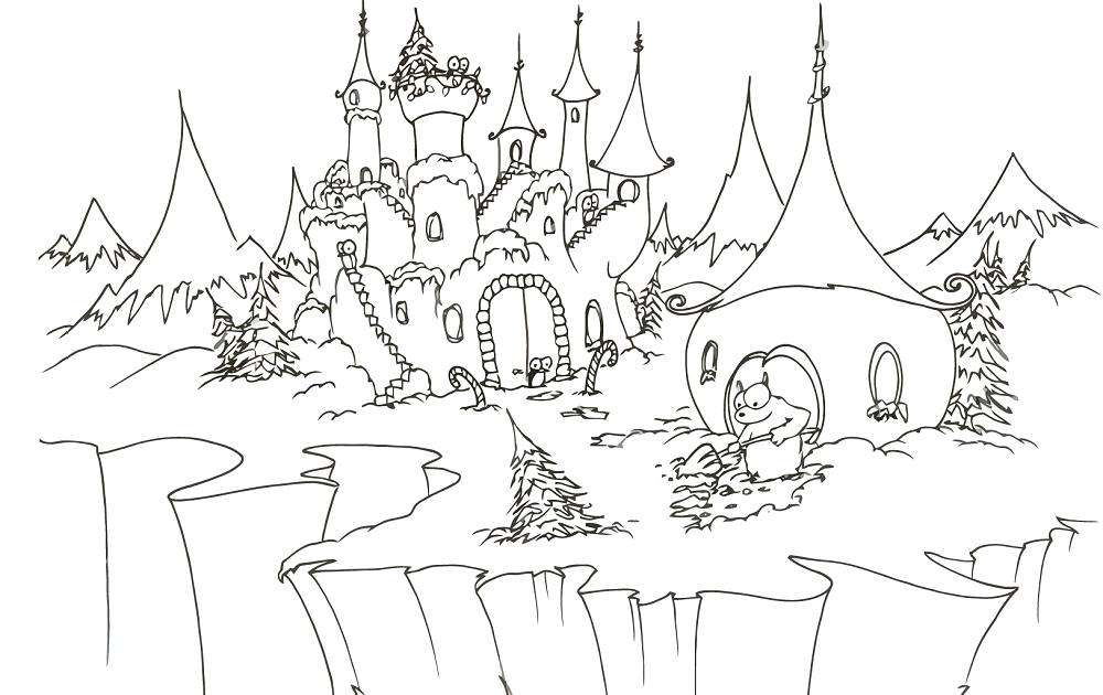 Halloween Coloring Pages: Christmas Castle Disney Coloring