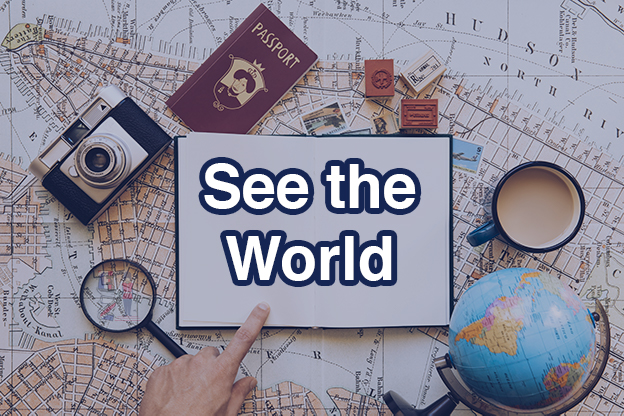 Travel all over the globe and meet other English speakers