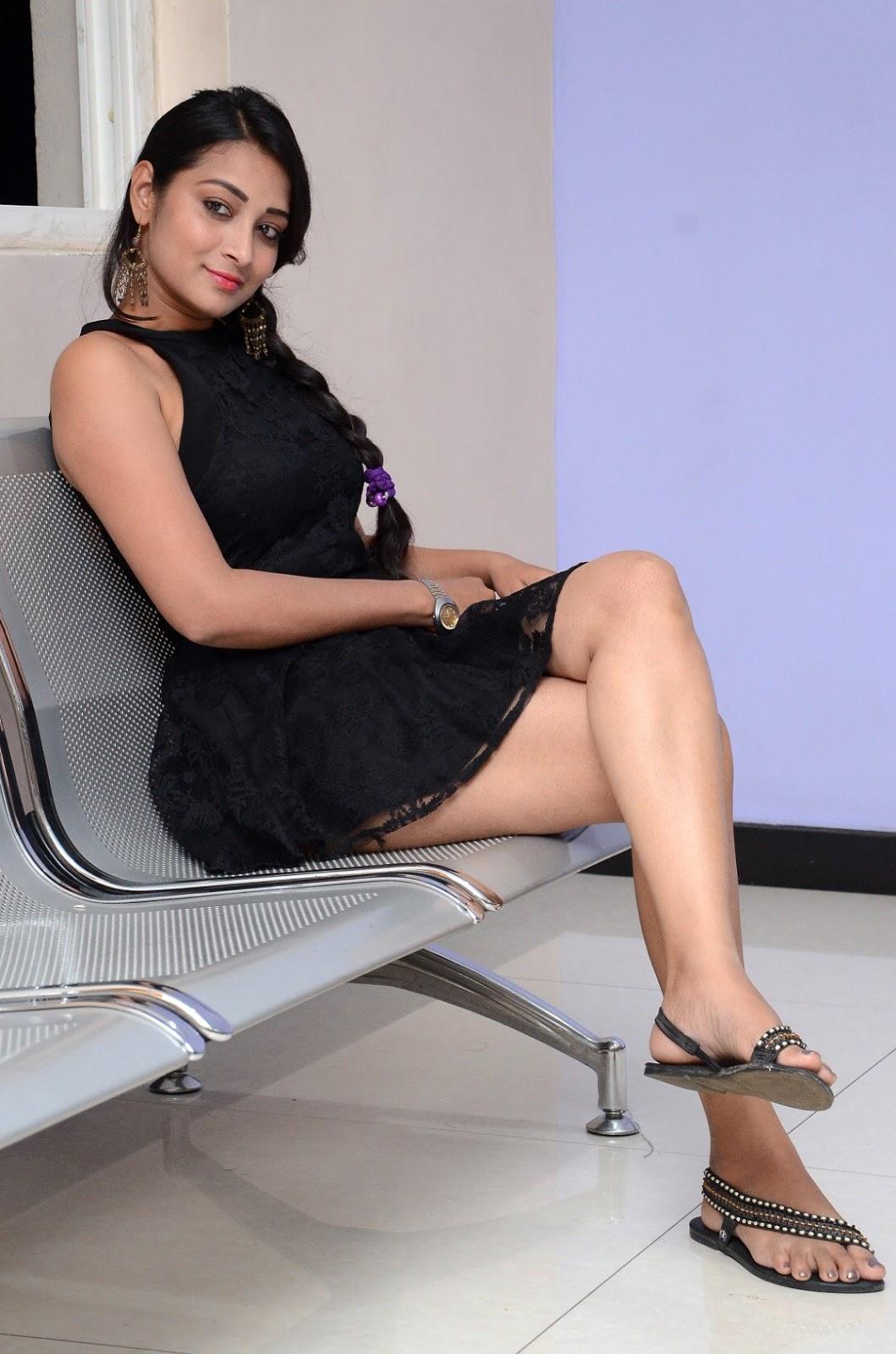 Bhanu Tripathi Smoking Hot Black Mini Skirt Showing Thighs ❤