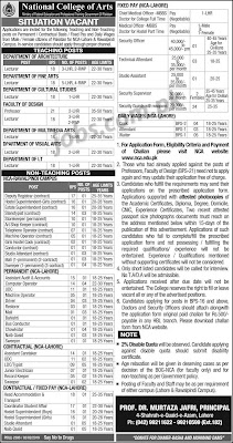 Latest National College of Arts (NCA) Jobs 2019 for 145+ Teaching & Non-Teaching Posts
