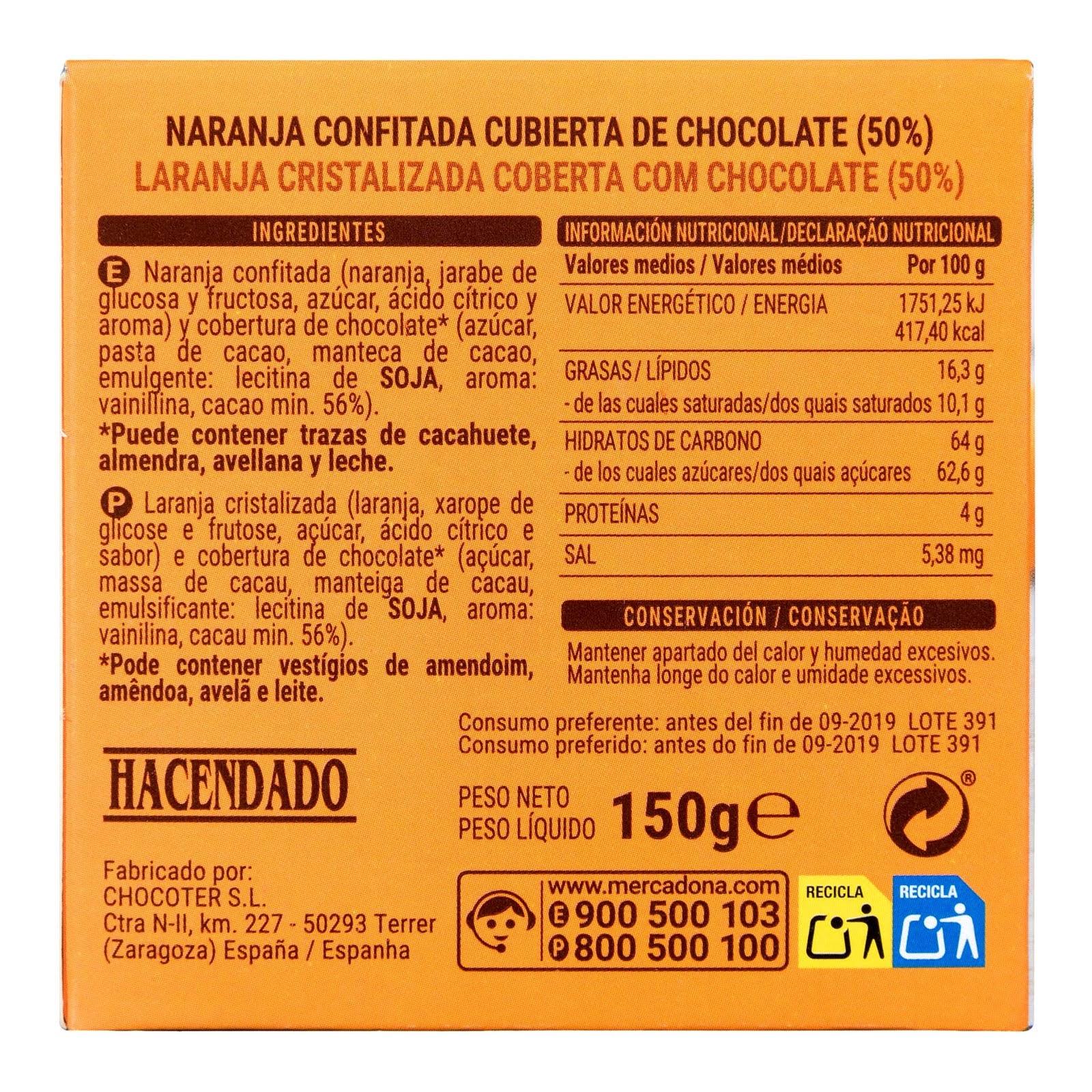 Naranja confitada cubierta de chocolate Hacendado