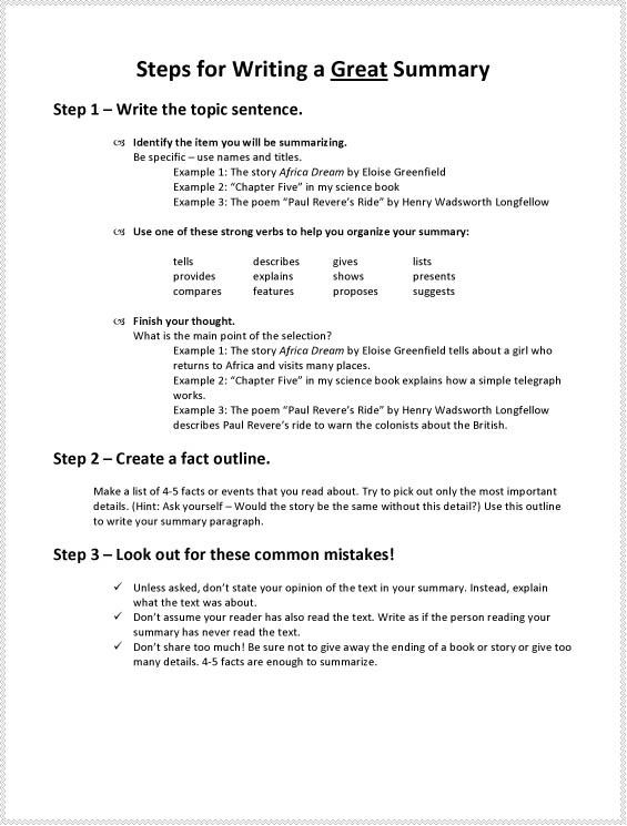 Steps for writing a summary middle school