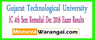 Gujarat Technological University IC 4th Sem Remedial Dec 2016 Exam Results