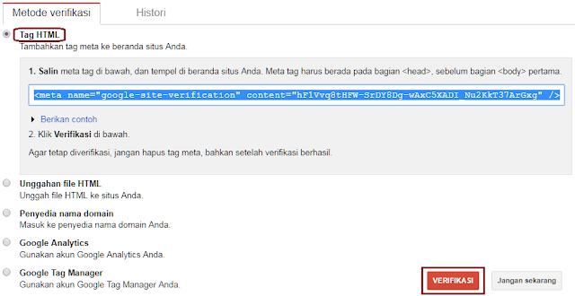 Kode verifikasi search console