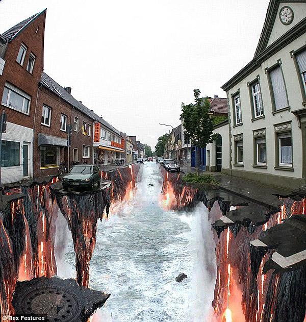 Çökmüş bir yoldaki yer altı sularını ve akan lavları gösteren kaldırım sanatı resmi