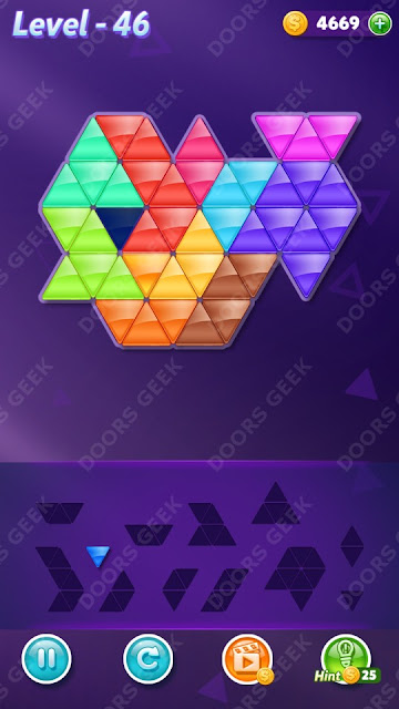 Block! Triangle Puzzle 12 Mania Level 46 Solution, Cheats, Walkthrough for Android, iPhone, iPad and iPod