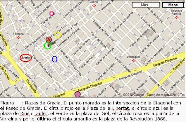mapa con las plazas bonitas de Barcelona
