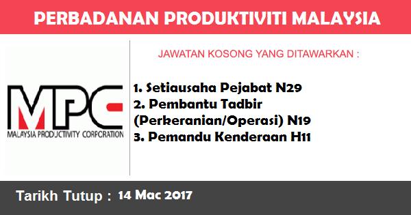 Jawatan Kosong di Malaysia Productivity Corporation (MPC)