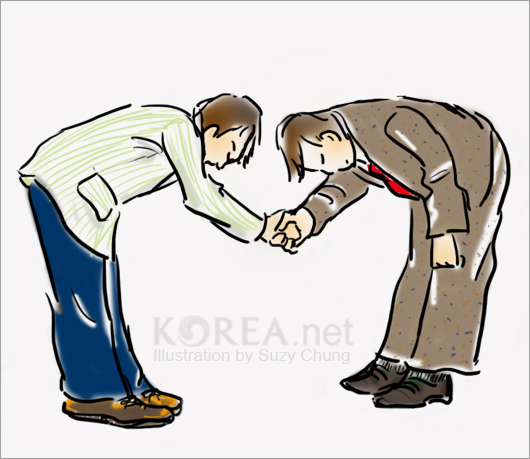 Korean greetings how to bow korea blog the term comes from the fact that the hands are clasped together at the navel position when bowing the degree of bowing depends on the occasion but the 45 m4hsunfo