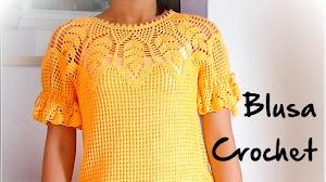 Cómo tejer blusa crochet con canesú con hojas y punto red