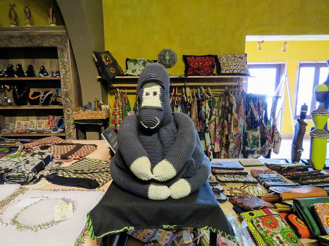 Knitted gorilla at Birdnest @ Bunyonyi lodge in Uganda