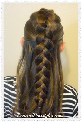 Dutch braid faux hawk half up half down hairstyle tutorial.