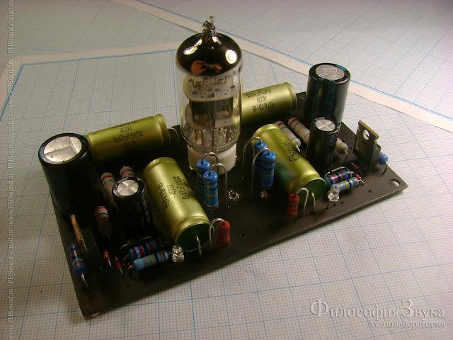 Предварительный усилитель на лампе 6Н1П собран