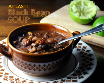 At Last Black Bean Soup ♥ KitchenParade.com, Laurie Colwin's recipe. Just dump in the ingredients and cook it on the stove, in the oven or in a slow cooker.