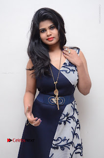 Telugu Actress Alekhya Stills in Blue Long Dress at Plus One ( 1) Audio Launch  0018.jpg