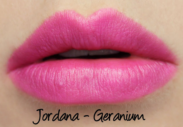 Jordana Geranium lipstick swatches & review