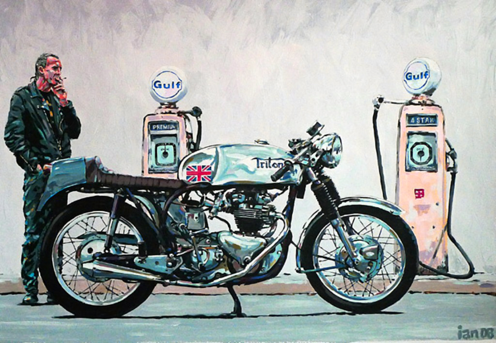 triton motorcycle cafe racer ian smoker cater artwork racing bike draw norton foto