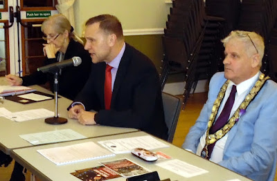 Keith Hunter, Humberside's Police & Crime Commissioner, making a point at the latest meeting of Brigg Town Council. To his left is Town Clerk Dinah Lilley, while Brigg Town Mayor, Coun Donald Campbell, is on the right. - picture on Nigel Fisher's Brigg Blog
