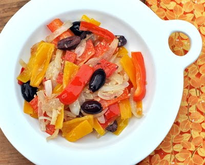 Sautéed Red & Yellow Pepper Relish, Colorful sautéed peppers with onion, garlic, olives, mustard. So simple, so good. Recipe, tips, WW points at Kitchen Parade.