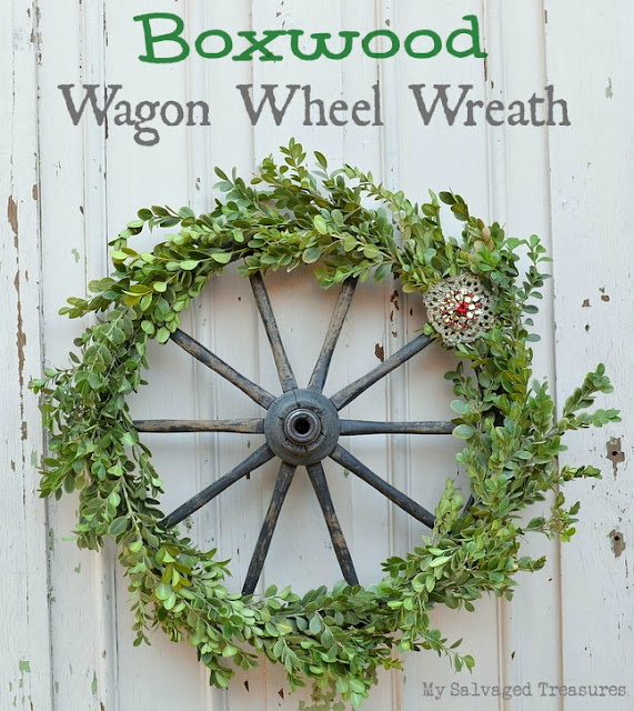 Christmas decor boxwood wagon wheel wreath with vintage jewelry