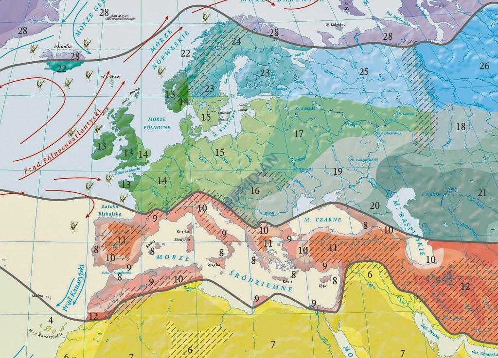 Climates classification by Wincenty Okołowicz (Europe)