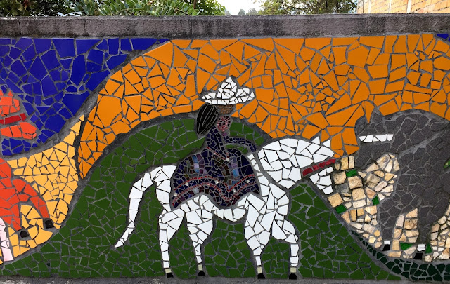 Mosaic of person on horseback