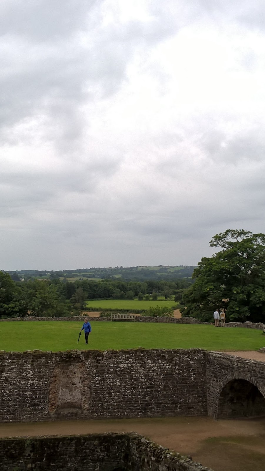 looking out at the countryside surrounding Raglan Castle