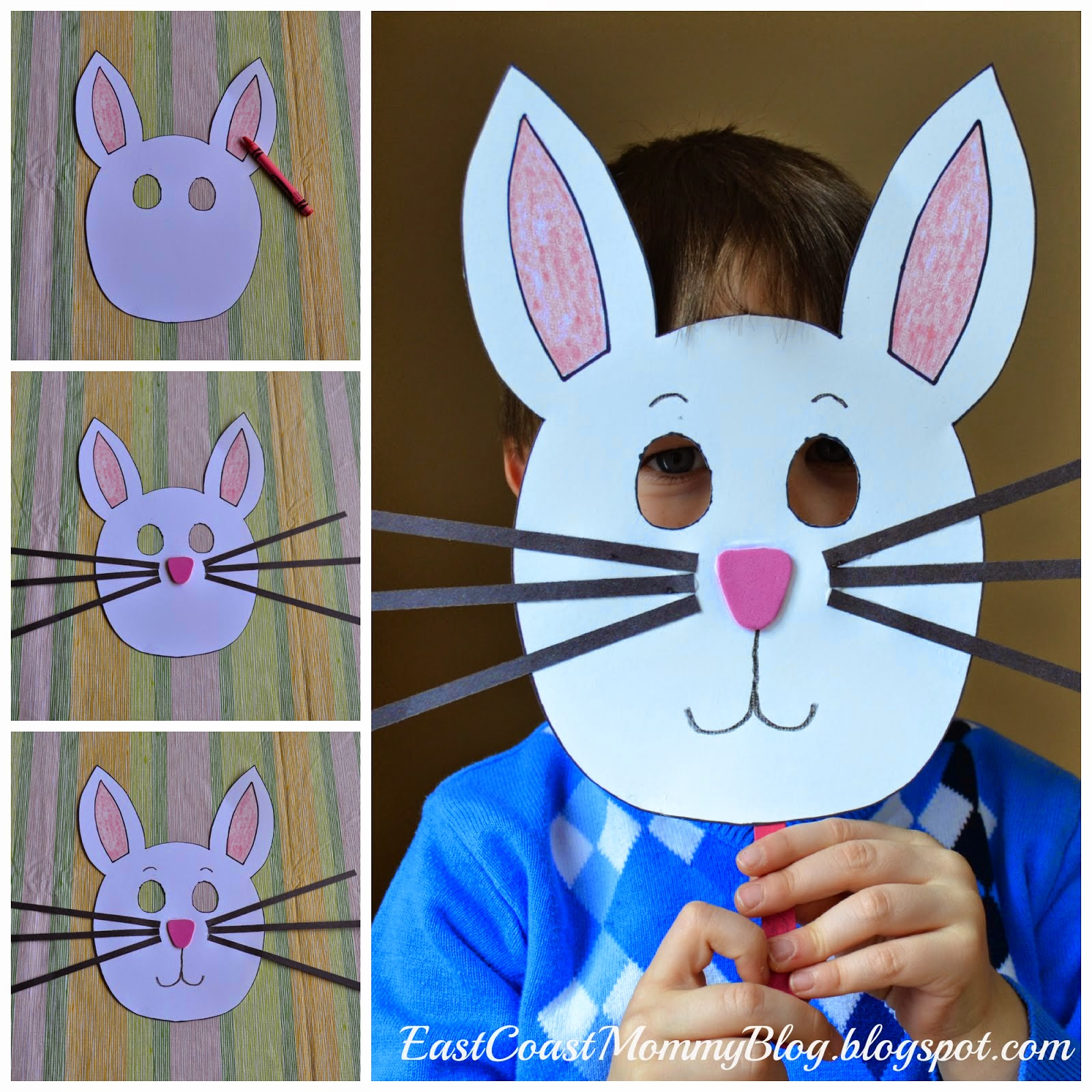 East coast mommy bunny mask preschool craft for Mask craft for kids