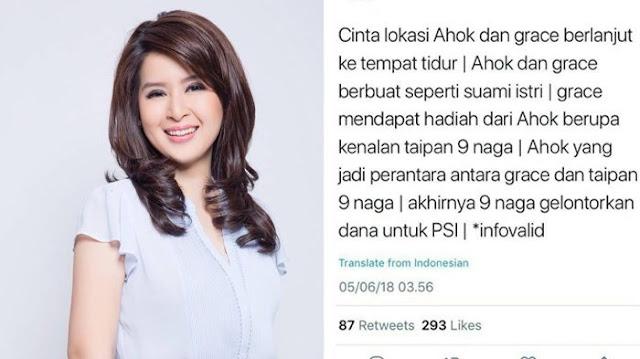 Gegara Tuduhan Cinlok dengan Ahok, Grace PSI Didepak dari Grup WA