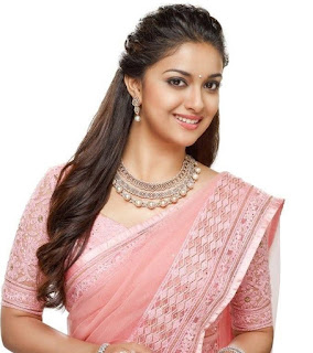 Keerthy Suresh in Rose Color Saree with Cute and Lovely Smile